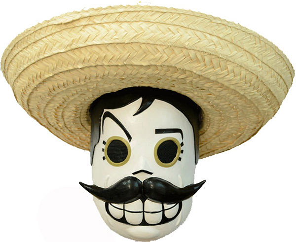NO HAT MENS CALAVERITAS MEXICANO DAY OF THE DEAD  PAINTED LATEX HALLOWEEN MASK