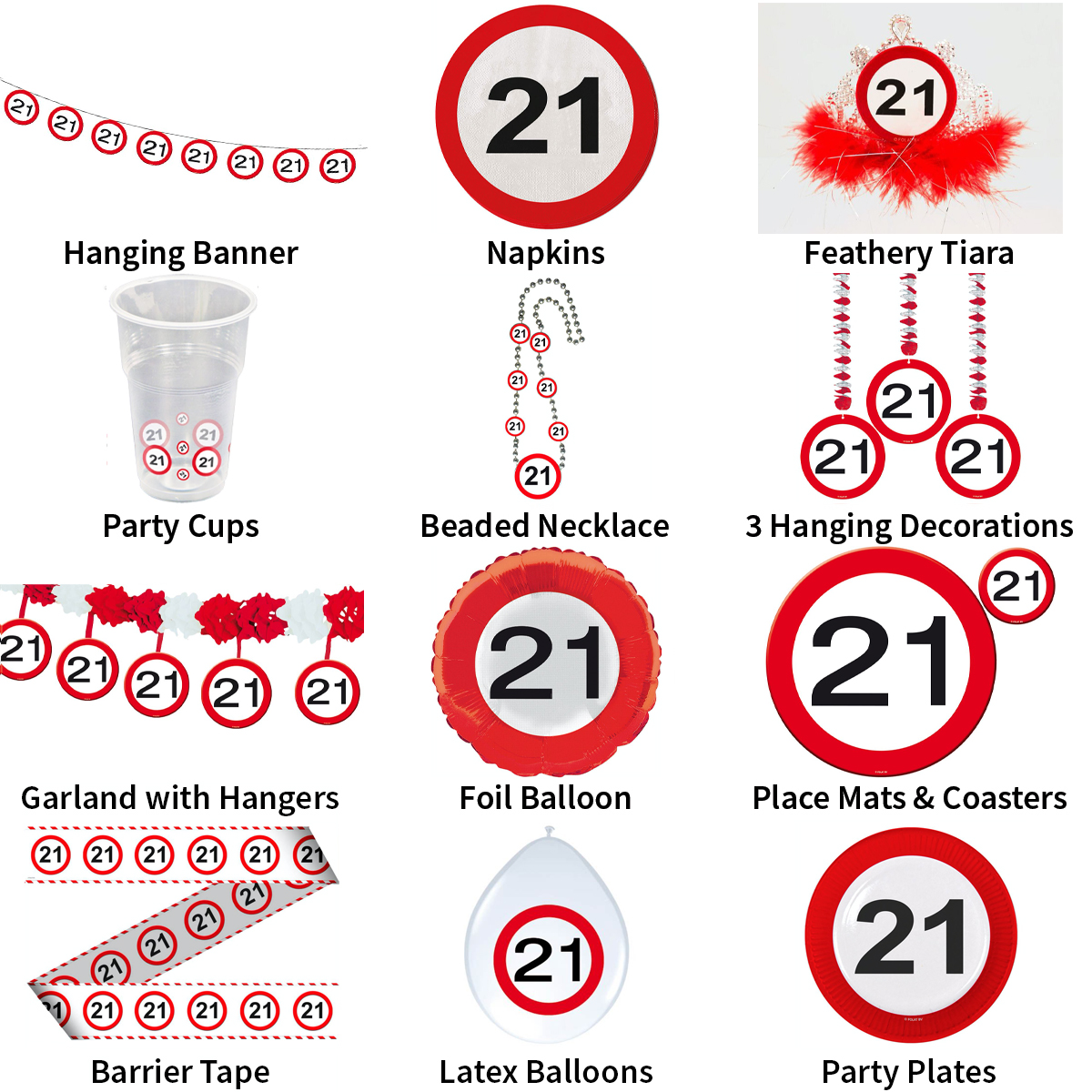 Traffic Sign 21st Feathers Birthday Hat Tiara Road 21